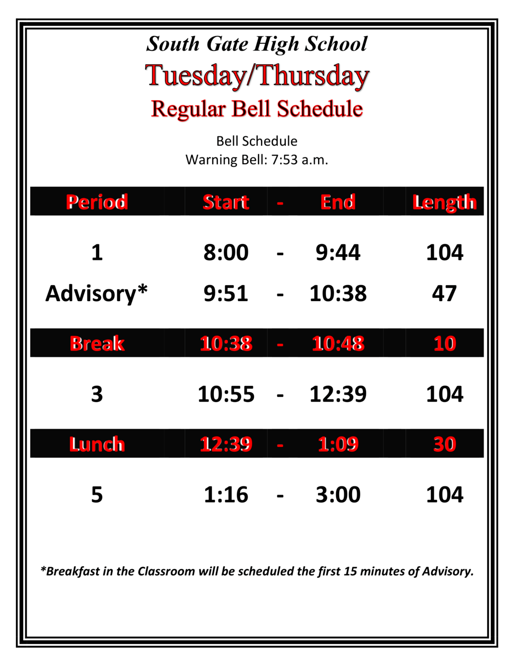 Tuesday Thursday Schedule