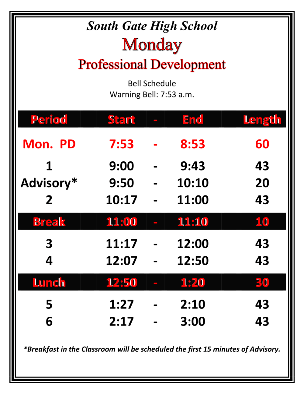 PD Monday Schedule